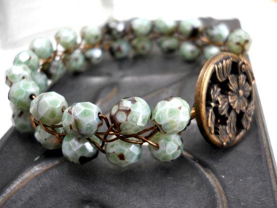 Mint Green Glass Bracelet, Mottled Green and Brown Czech Glass Beads, Antiqued Brass Floral Button