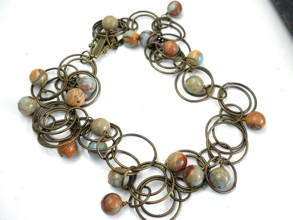 Aqua Gemstone Brass Circles Necklace, Aqua Terra Jasper, Antiqued Brass Circles Chain, Rustic, Natural, Autumn Fashion