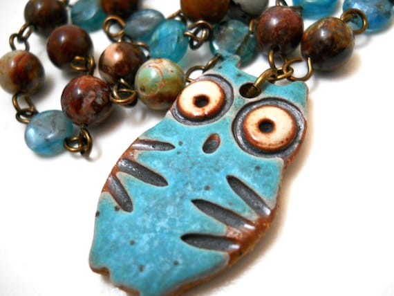 Ceramic Owl and Gemstone Necklace, Multi Colored Jasper, Aqua Blue Turqoise Rustic Ceramic Owl Pendant, Bird Fashion
