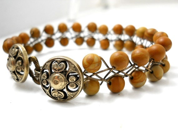 SALE Beaded Wire Braided Bracelet, Natural Wood Jasper, Antiqued Brass Floral Buttons, Deep Brown, Khaki, Floral Jewelry