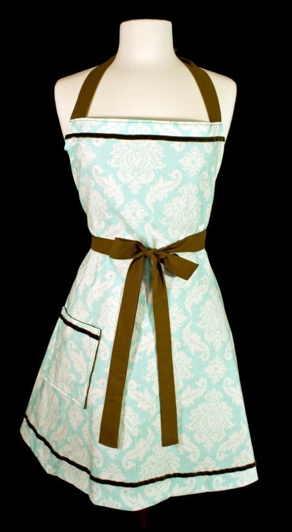 Sophisticated Joni Apron....tiffany blue and chocolate brown
