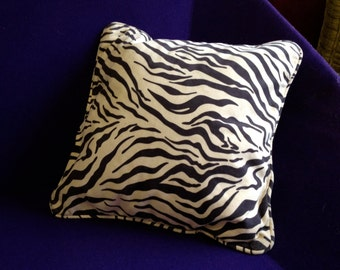 Suedette piped zebraprint cushion Made by Ray Clarke