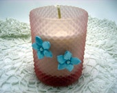 Votive Candle, Soy Wax, Fruit Scent,  Pineapple, Mango, Vintage Votive Holder, Pink,  Shabby Decor, Cottage Chic