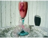 Candle, Strawberry Scented, Breast Cancer Awareness Candle, Pink, Flute Glass, Pink Ribbon Candle