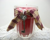 Primitive Candle, Strawberry Scent, Red, Country, Plaid Ribbon, Country Decor, Vintage Key Charm, Jelly Jar, Red Candle