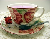 Candle, Pink Candle, Tea Cup Candle,Rose Cup and Saucer, Sweet Vanilla and Apple Scent, With a Spoon and Rose Tea Bag Tag