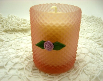 Votive Candle,  Pink, Vintage Votive Holder, Rose, Shabby Decor, Powder Scent, Small Candle, Container Candle, Cottage Chic Decor