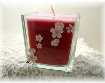 Pink Blossom, Candle, Strawberry, Vanilla Scent, Red Candle, Cherry Blossoms, Square, Container Candle