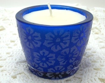 Candle, Caramel Apple Scent, Cobalt Blue, Patio Decor, Blue Glass, White Candle, Frosted Glass, Container Candle, Tropical Decor
