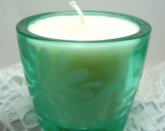 Candle, Caramel Apple Scent, Turquoise & White, Frosted Glass, Tropical Decor, Flower Design, Patio Decor, Floral,