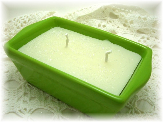 Candle, Lime Green, Loaf Pan, White, Double Wick, Spice Scented, Kitchen Candle, Country Kitchen, Bread Loaf Pan, Kitchen Decor