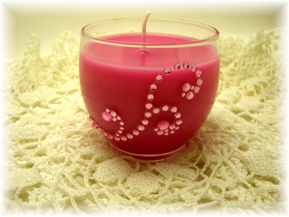 Pink Candle, Lemon & Orange Scent, Pink, Rhinestone, Container Candle, Hot Pink, Fruit Scent