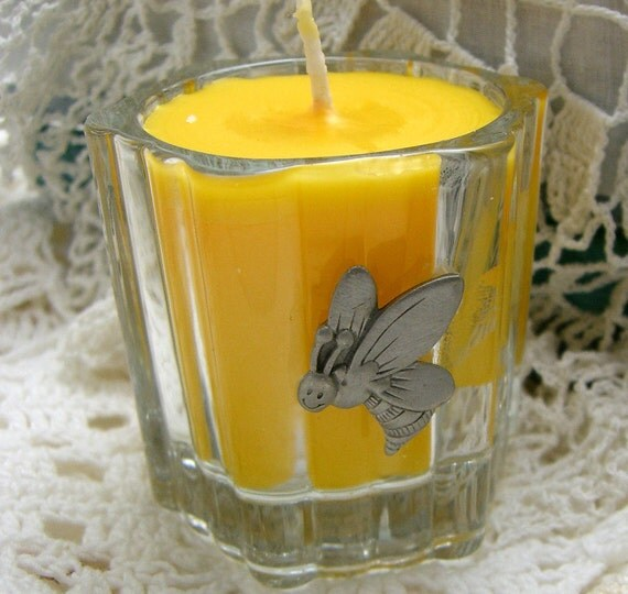 Candle, Yellow, Honey Bee, Maple Butter Scent, Votive Candle, Small Candle, Yellow Candle