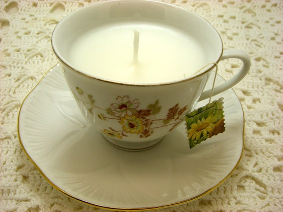 Candle, Tea Cup, White Tea, Ginger,  White and Yellow, Floral Tea Cup, Tea Cups, Tea Cup Candle