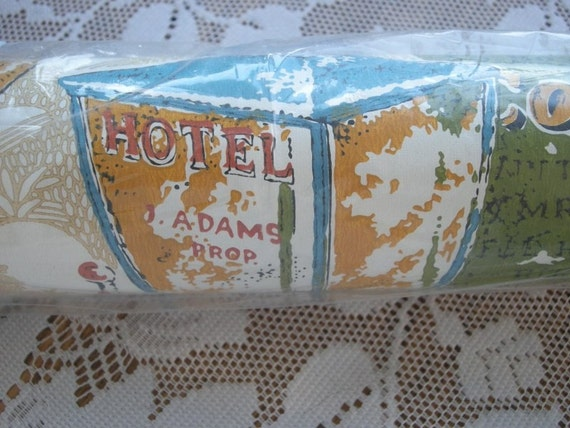 1960s NIP Full Roll Birge Wallpaper with vintage old time Tavern and Inn signs