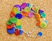 Carnival Upcycled Button Bracelet