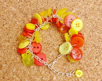 Oranges and Lemons Upcycled Button Bracelet