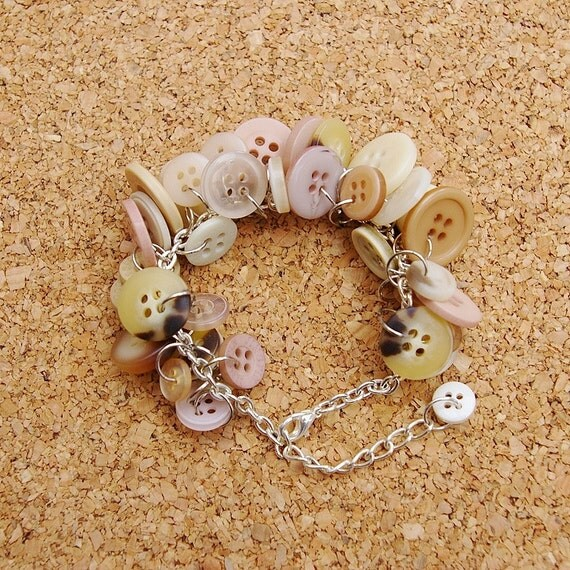 Cappuccino Upcycled Button Bracelet