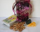 Wild Roses Tarot Bag, Rune Bag, Knit Pouch, SALE