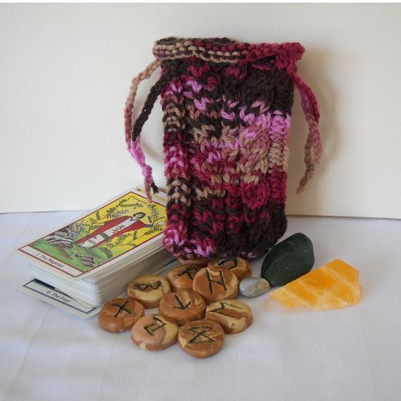 Knit Pattern Tarot Bag : Wild Roses Tarot Bag Rune Bag Knit Pouch SALE