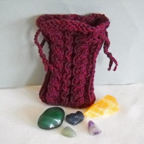 Knit Pattern Tarot Bag : Burgundy Red Tarot Bag Rune Bag Knit Pouch