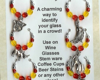 Spanish Spain Espana Themed Wine Charms with Pouch