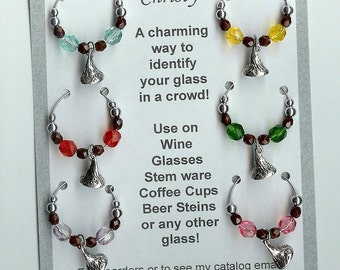 Chocolate Kiss Kisses Candy Wine Charms w Pouch