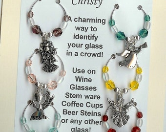 Angel Angels  Religious Wine Charms w/ Pouch