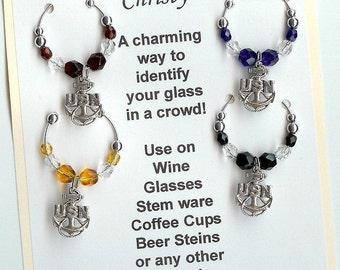Navy United States Navy  Military Wine Charms Set of 4