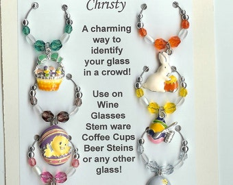 Easter Theme  Wine Charms w/ Pouch C