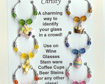 Easter Theme  Wine Charms w/ Pouch D