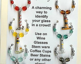 Lighthouse Light House Wine Charms Wine Charms v1