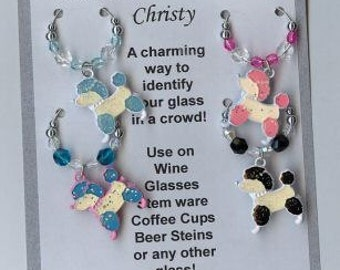 Poodle Dog Colored Wine Charms w pouch