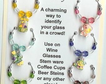 Easter Theme  Wine Charms w/ Pouch E