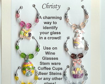 Easter Theme  Wine Charms w/ Pouch G