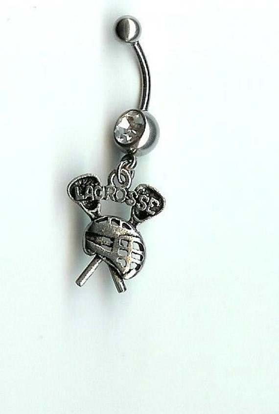 Lacrosse Belly Navel Ring with charm choose your charm choose your color