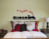 Train with Name Vinyl Decal - Monogram Peronsalized - Sticker Wall Art - Kids Bedroom Nursery Crib - Matte Lettering Quote