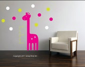 Giraffe Growth Chart  - Girls Height Chart Personalized - Giraffe and Polka Dots Wall Decal