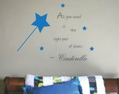 Girls Decal Princess Room Cinderella Quote Girls Bedroom Vinyl Lettering Wording Wall Art Shoes Magic Wand Nursery Decor Wall Art