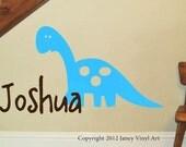 Dinosaur Decal - Brontosaurus Monogram - Vinyl Lettering - Quote - Wall Art - Sticker - Boys Bedroom - Nursery Decor - Matte vinal