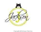 Boy Nursery Monogram Vinyl Art Decal - Bear Circle Letter Monogram Sticker - Vinyl Lettering