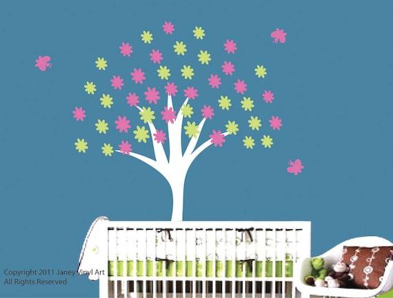 Tree Baby Room Decal Vinyl - Nursery Tree Wall Art Decal Flowers Tree Butterflies