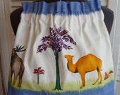 Girls Animal Skirt, Girls Skirt, Childrens Skirt, Recycled Fabric, Animal Print,Handmade Skirt, Unique Skirt, Linen Fabric, Elastic Waist