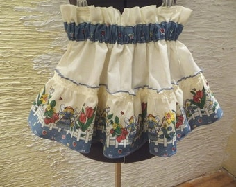 girls skirt, handmade skirt, upcycled skirt, gardening angel, unique clothing, recycled fabric, elastic waist, wide border ruffle,so cute