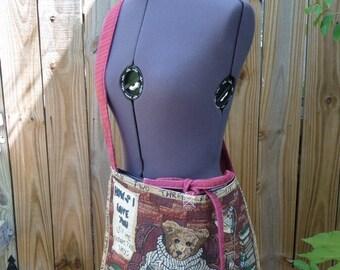 Bear Tote Bag, teddy bear tote, handmade bag, shoulder bag, tote bag ,unique tote bag, tie closure bag, handmade purse, recycled fabrics