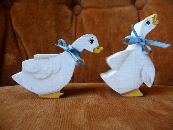 wooden cut outs, wooden duck, wood ducks, blue ribbons, art supplies, craft supplies, unique ducks,vintage home decor,set of two,decorations