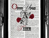 Once Upon A Time an Original Vintage French English Dictionary Page Art