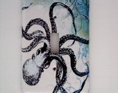 Nautical Octopus Single or Double Light Switch Art Cover Blue