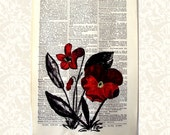 Red Painted Poppies Dictionary Book Page with Original Art