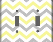 Yellow and Gray Chevron Pattern Light Switch Covers Your Choice of Size